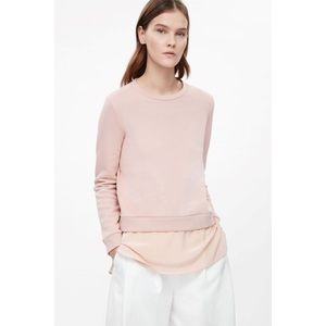 COS Layered Silk Panel Sweatshirt - XS, Blush Pink
